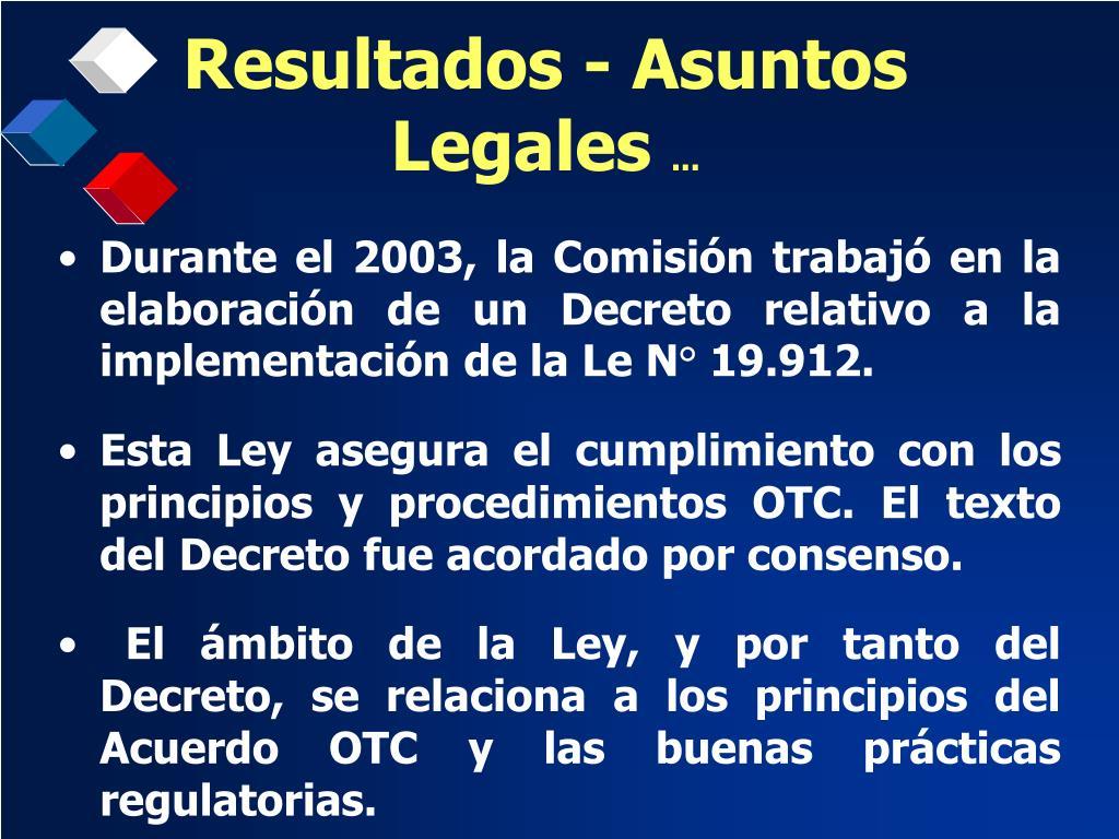 Resultados - Asuntos Legales