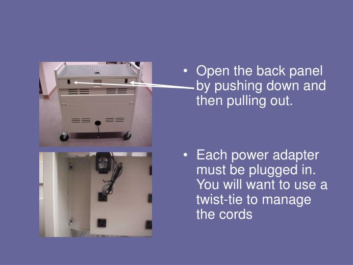 Open the back panel by pushing down and then pulling out.