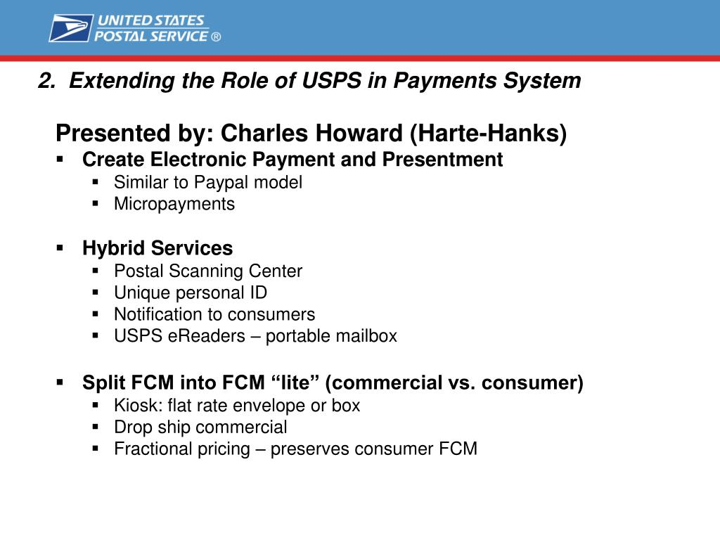2.  Extending the Role of USPS in Payments System