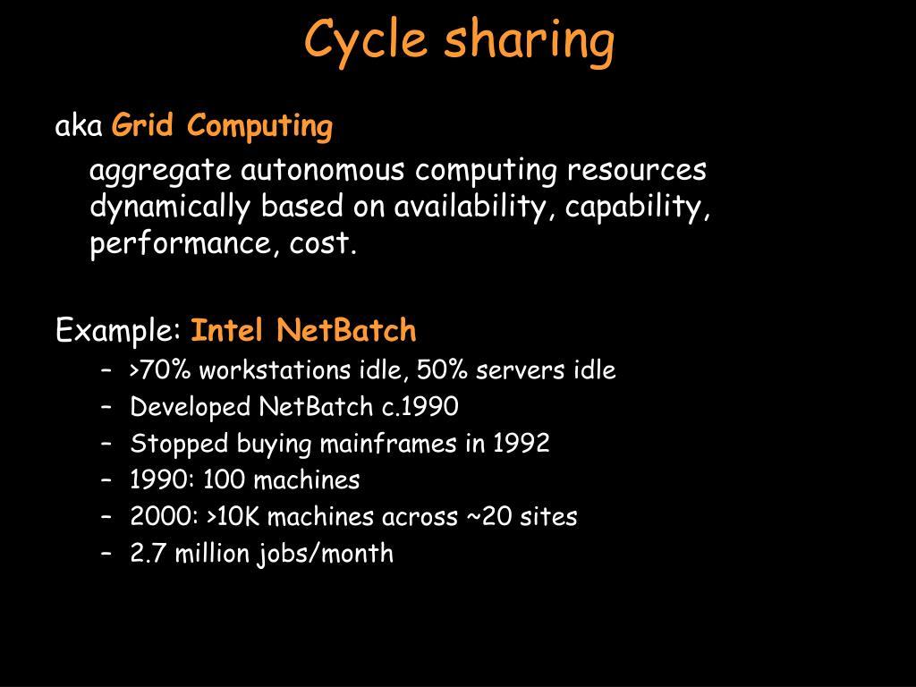 Cycle sharing