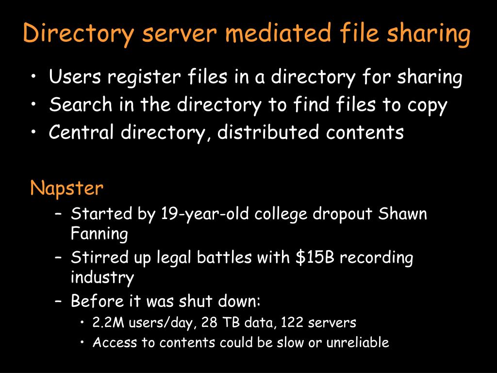 Directory server mediated file sharing