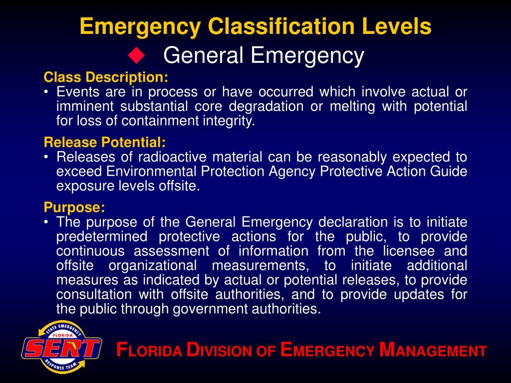 Emergency Classification Levels