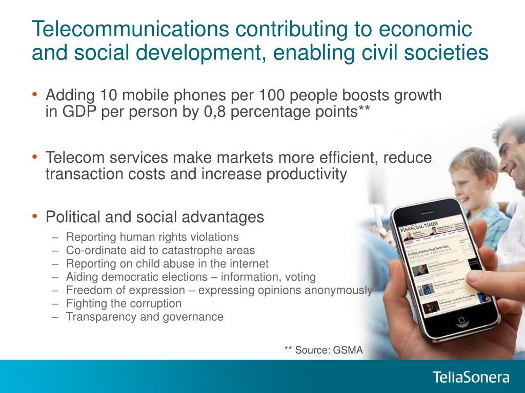 Telecommunications contributing to economic and social development, enabling civil societies