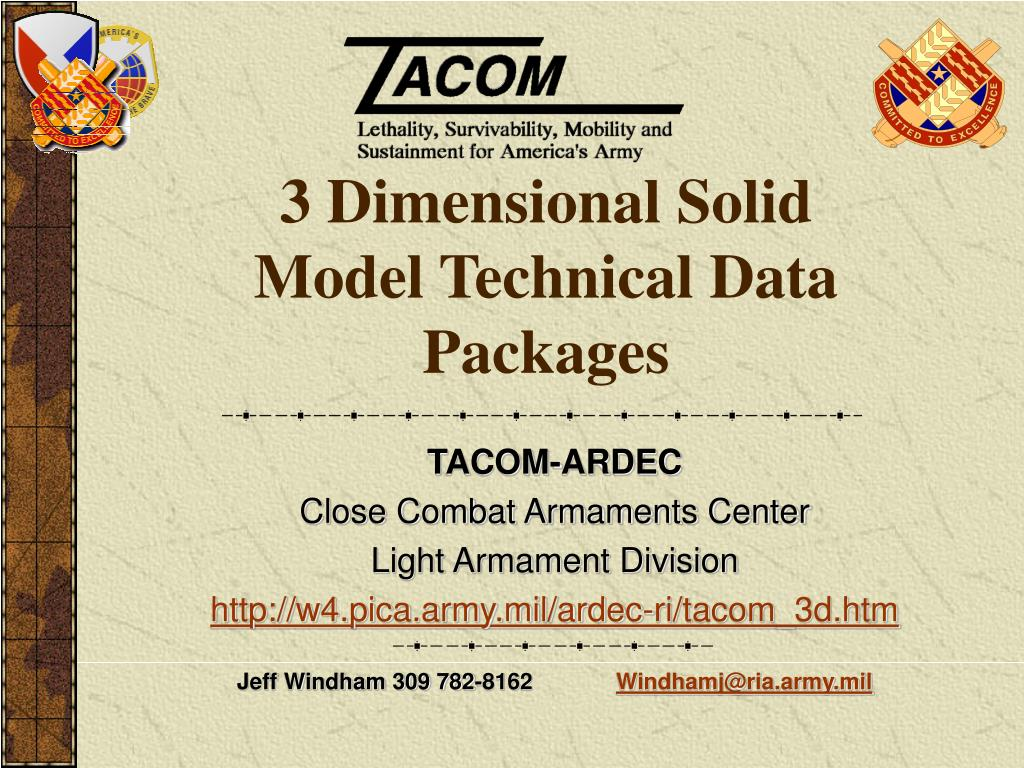 3 dimensional solid model technical data packages l.
