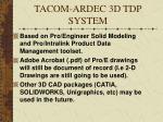 tacom ardec 3d tdp system
