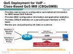 qos deployment for voip class based qos mib cbqosmib
