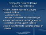 computer related crime crimes against children