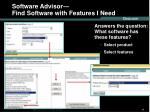 software advisor find software with features i need