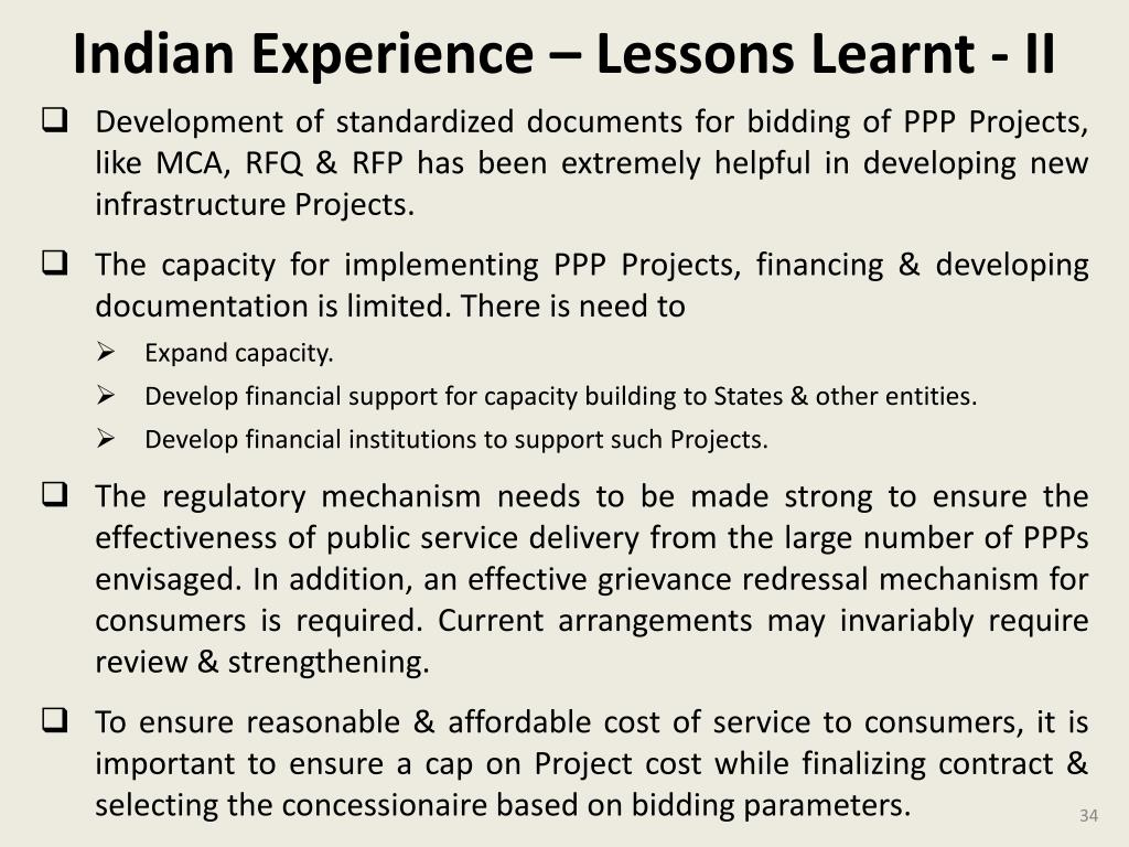 Indian Experience – Lessons Learnt - II