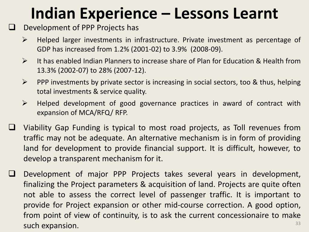 Indian Experience – Lessons Learnt