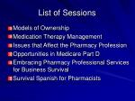 list of sessions10