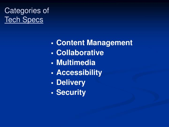 Categories of tech specs