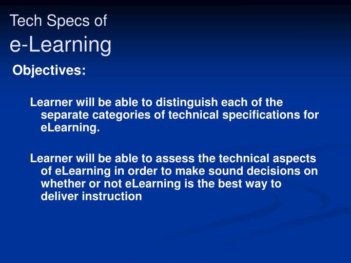 Tech specs of e learning2