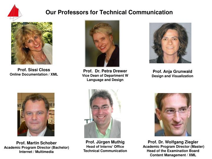 Our professors for technical communication