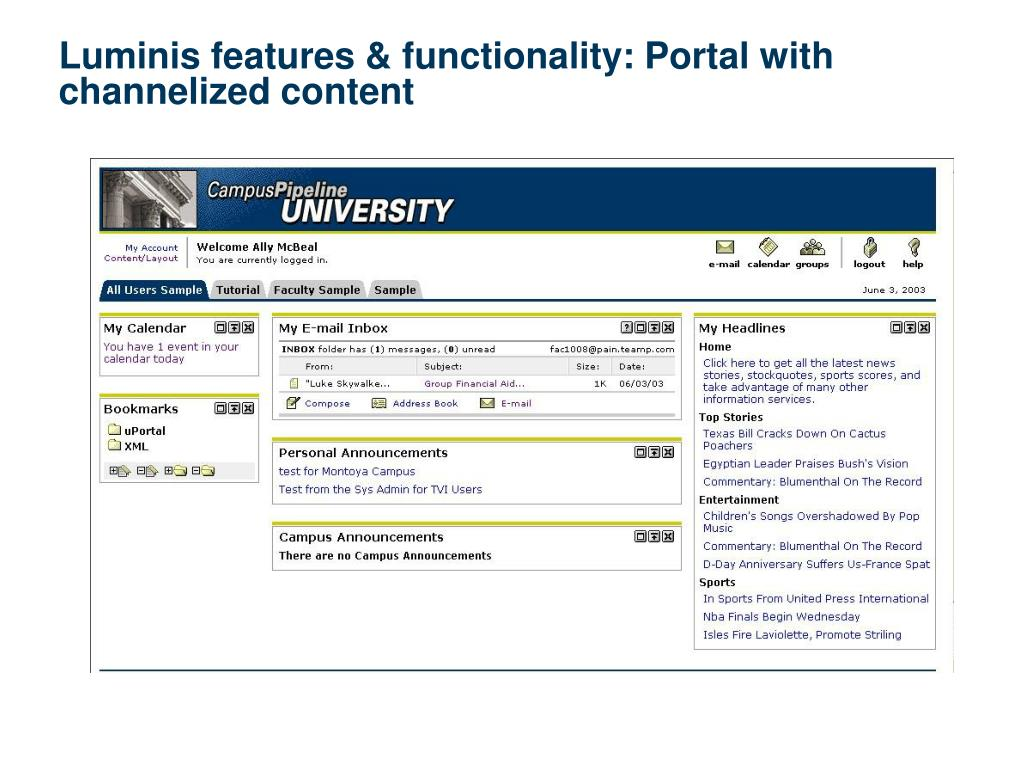 Luminis features & functionality: Portal with channelized content