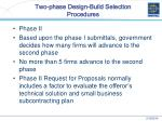 two phase design build selection procedures26