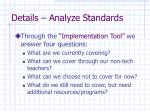 details analyze standards20