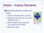 details analyze standards28