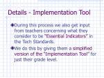 details implementation tool27