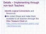 details implementing through non tech teachers