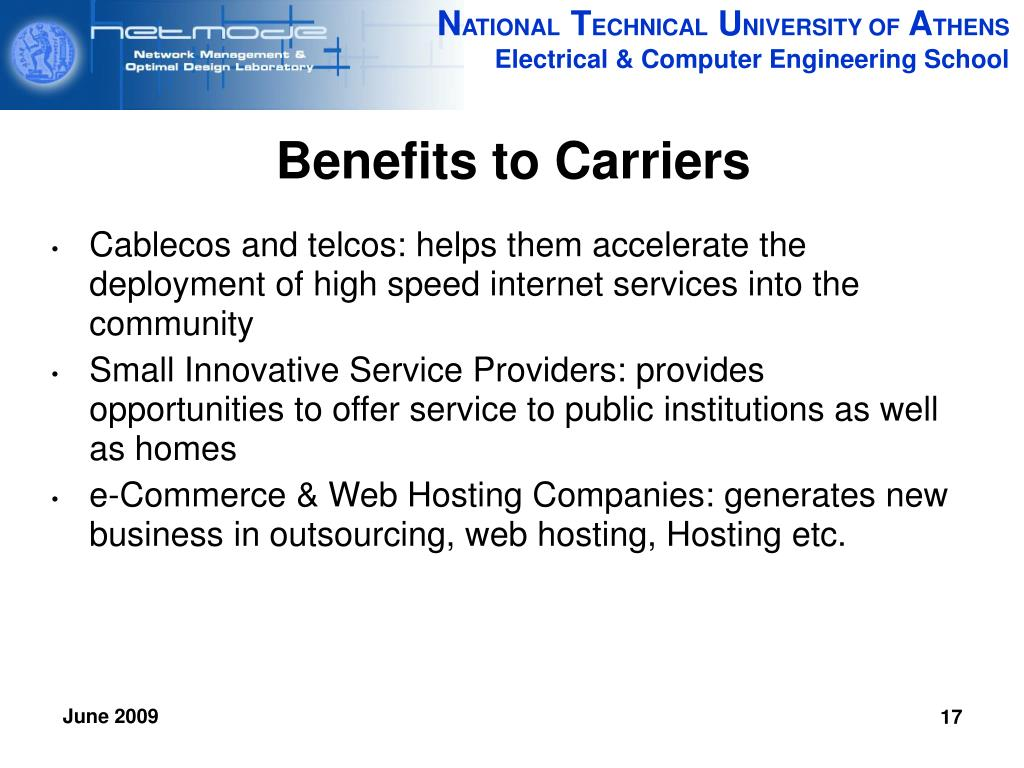Benefits to Carriers