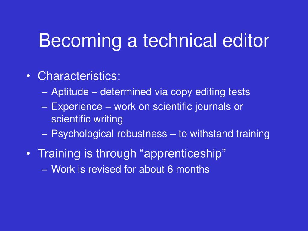 Becoming a technical editor