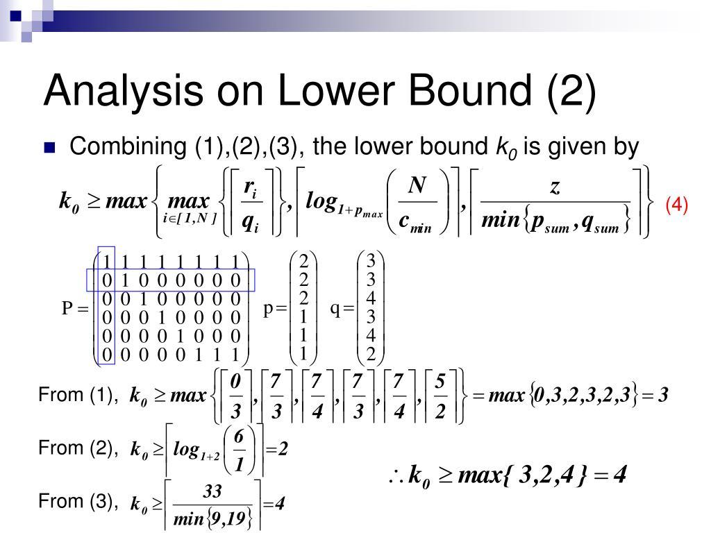Analysis on Lower Bound (2)