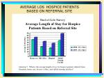 average los hospice patients based on referral site