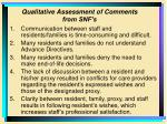 qualitative assessment of comments from snf s