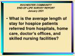 rochester community end of life survey report january 200116