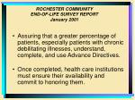 rochester community end of life survey report january 200123