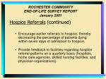 rochester community end of life survey report january 200131