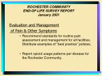 rochester community end of life survey report january 200132