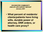 rochester community end of life survey report january 20016