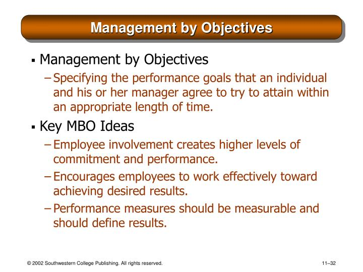 management by objectives mbo method involves setting There are two sure things about compensation plans based on management by objectives (mbos)&#58  improving sales force performance with mbo-based pay  centralization for setting and rating.