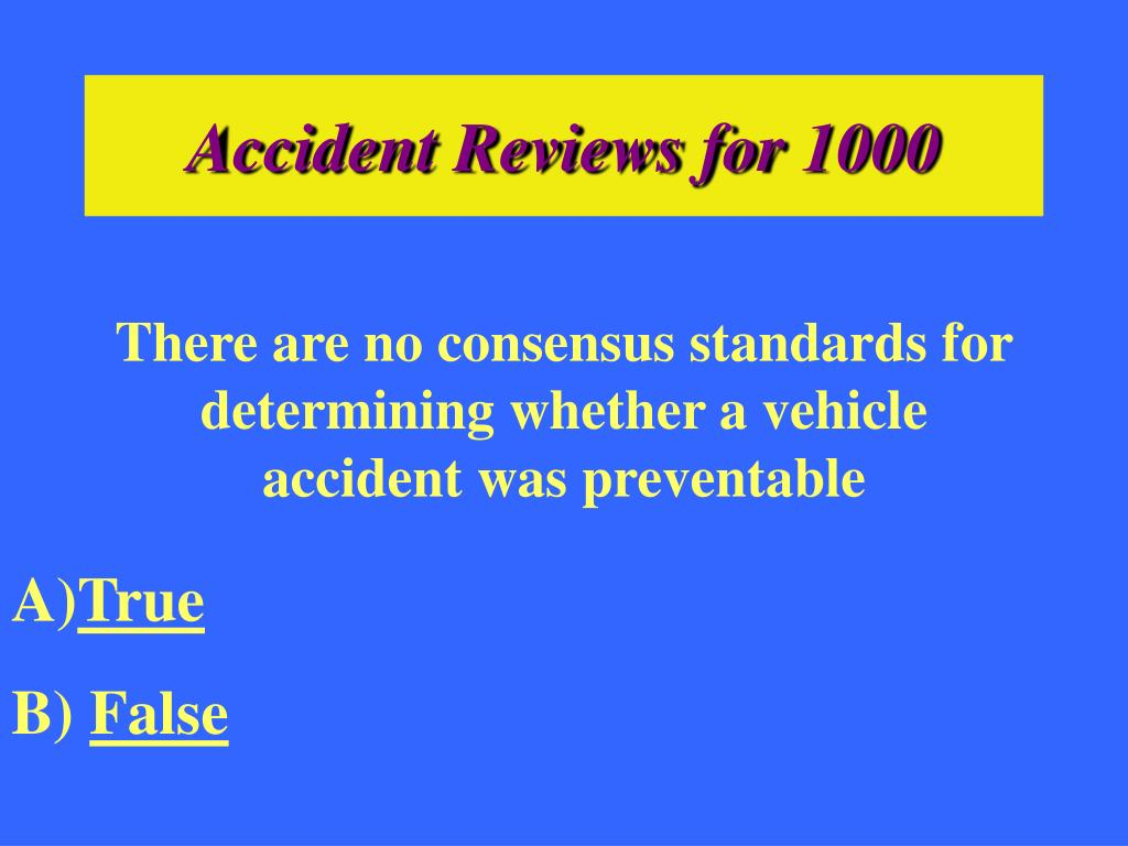 Accident Reviews for 1000