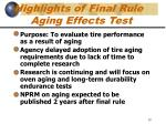 highlights of final rule aging effects test