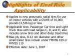 highlights of final rule applicability