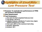 highlights of final rule low pressure test