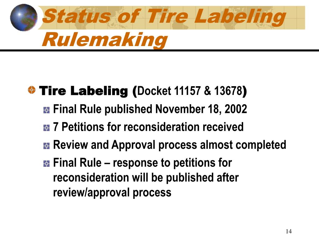 Status of Tire Labeling Rulemaking