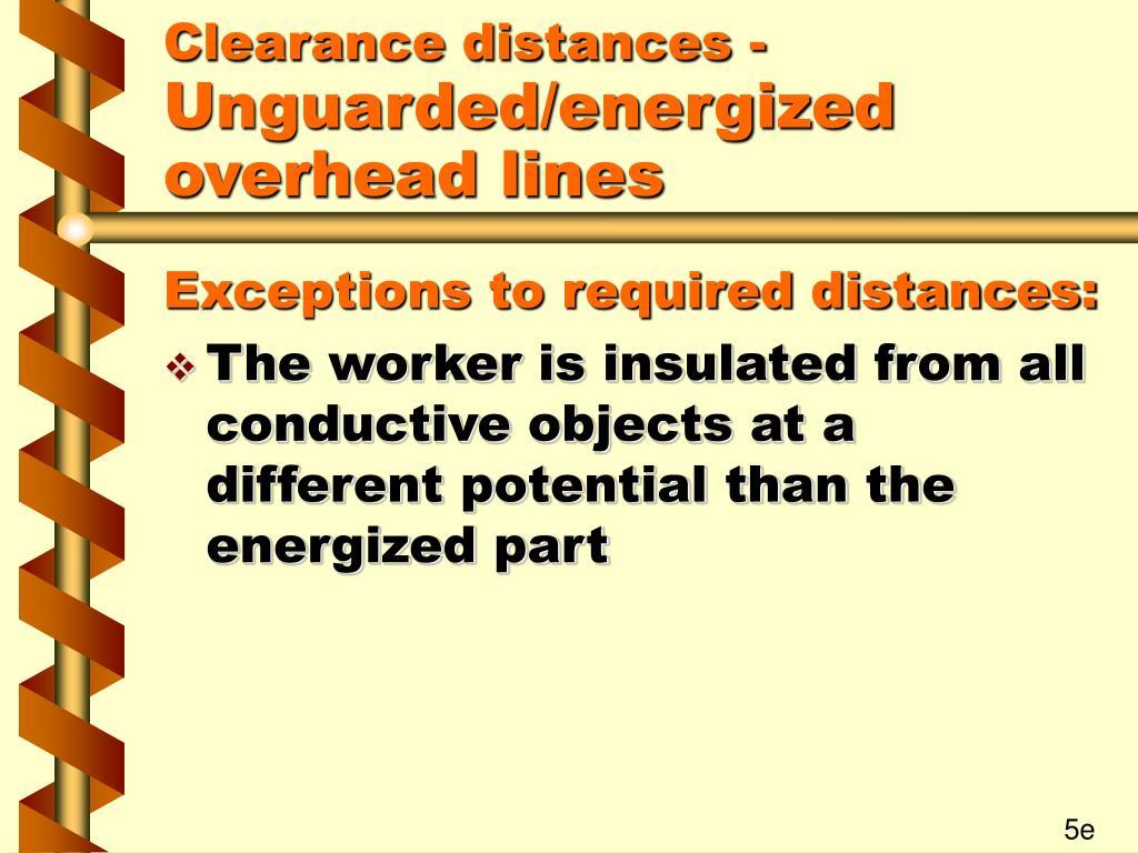 Clearance distances -
