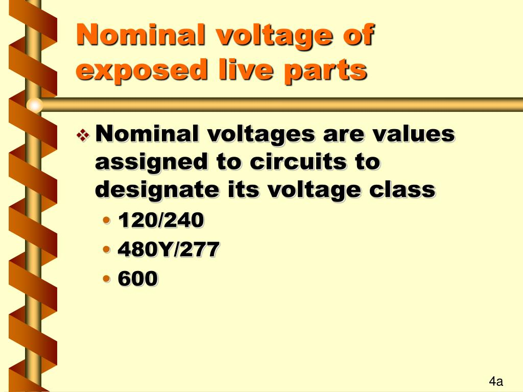 Nominal voltage of exposed live parts
