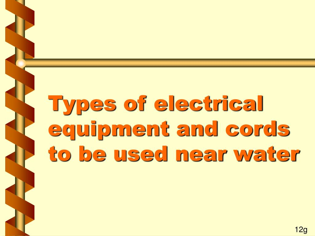 Types of electrical equipment and cords to be used near water
