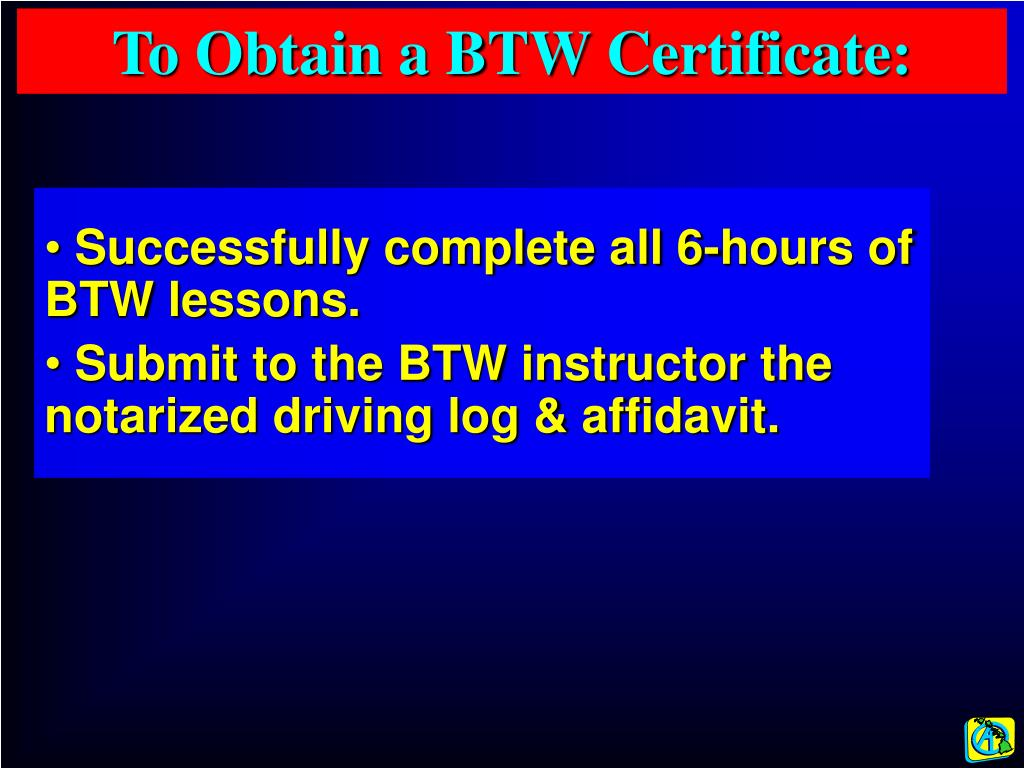 To Obtain a BTW Certificate: