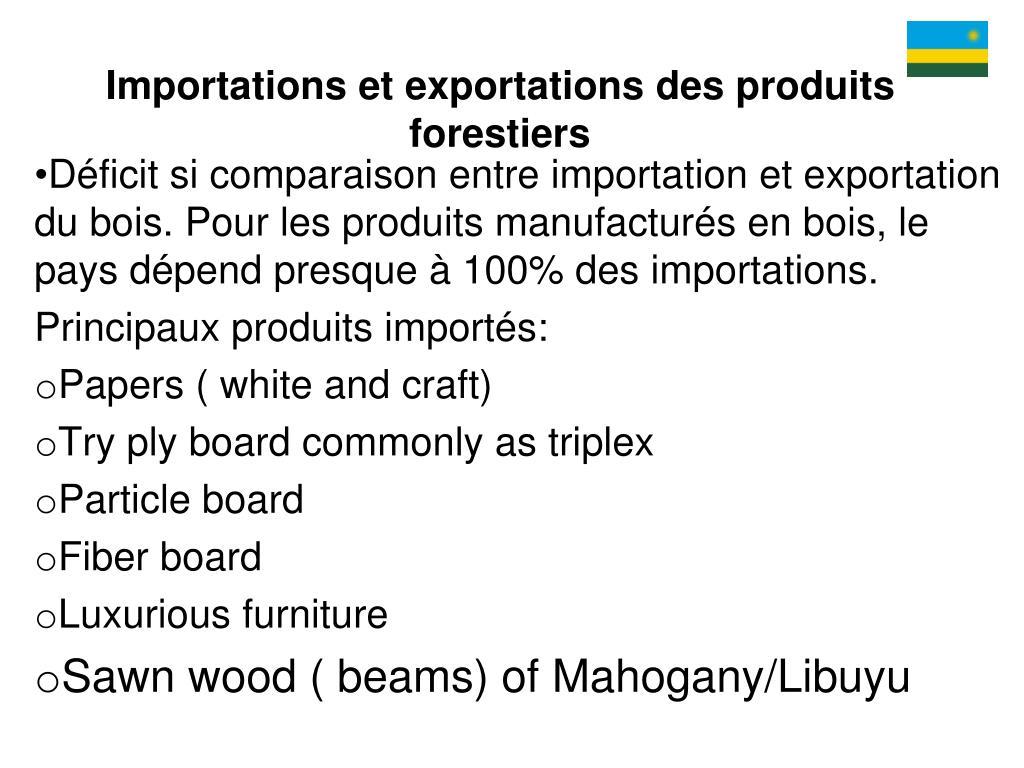 Importations et exportations des produits forestiers