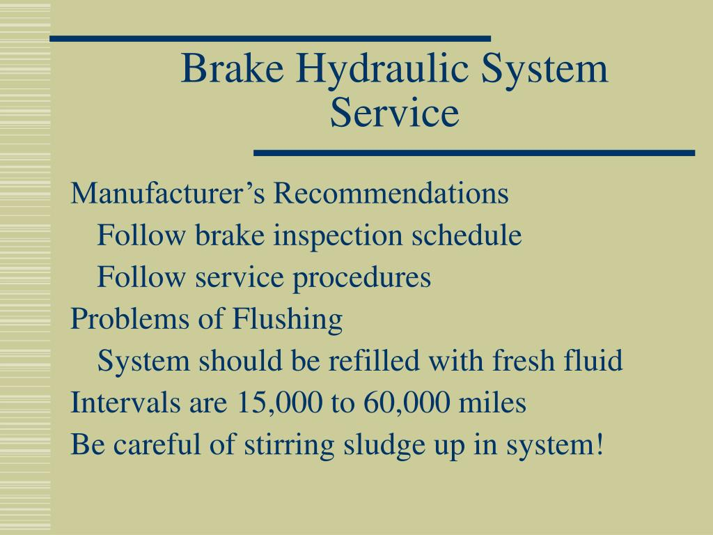Brake Hydraulic System Service