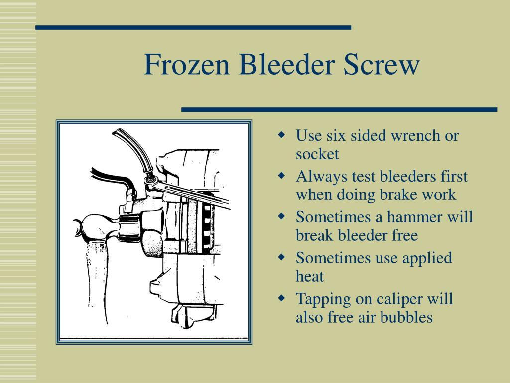 Frozen Bleeder Screw