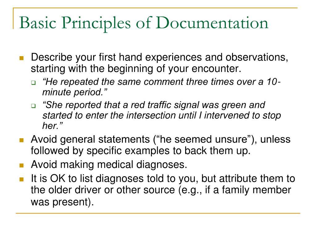 Basic Principles of Documentation