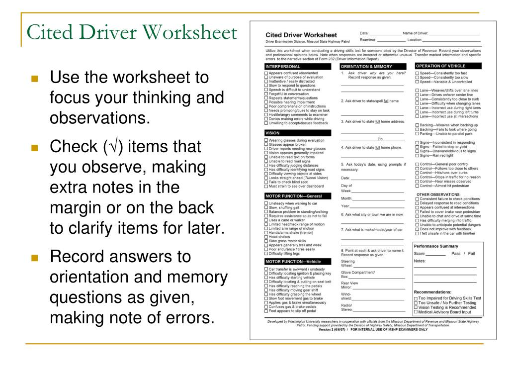 Use the worksheet to focus your thinking and observations.