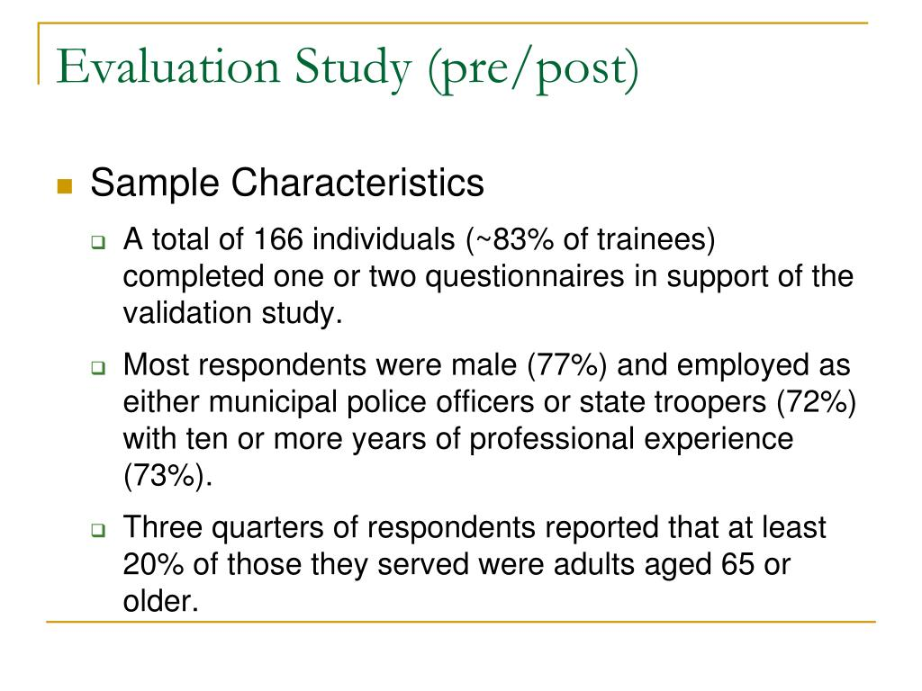 Evaluation Study (pre/post)
